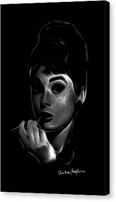 Audrey In Black And White Canvas Print by Steve K