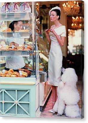 Fashion Model Canvas Print - Audrey Marnay At A Patisserie With A Poodle by Arthur Elgort