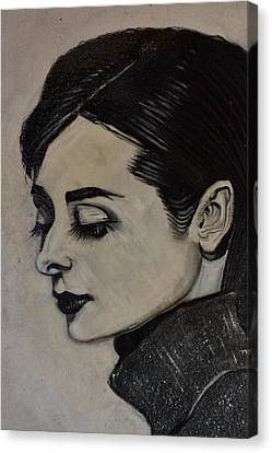 Canvas Print featuring the painting Audrey by Sandro Ramani