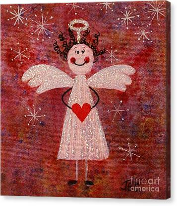 Canvas Print featuring the painting Audrey The Angel by Jane Chesnut