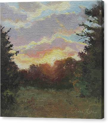 August Sunrise Plein Air Canvas Print by Anna Rose Bain