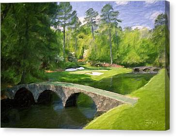 Augusta National Hole 12 - Golden Bell 2 Canvas Print by Scott Melby