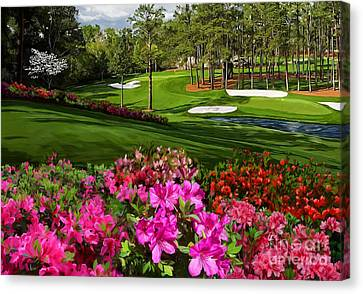 Tournament Canvas Print - Augusta Azaleas 16th And 6th by Tim Gilliland