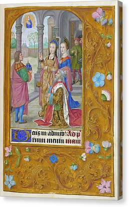 Augustus And The Tiburtine Sibyl Canvas Print by British Library