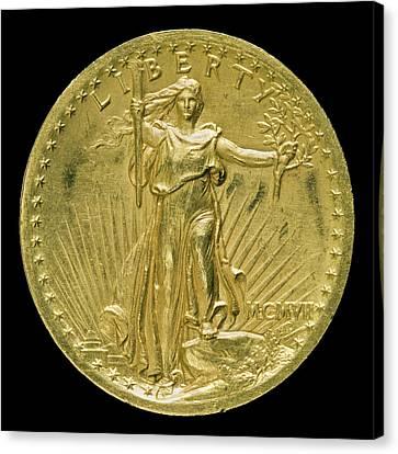 Augustus Saint-gaudens, Double Eagle Twenty Dollar Gold Canvas Print by Litz Collection