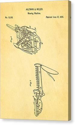 Aultman Mowing Machine Patent 1856 Canvas Print by Ian Monk