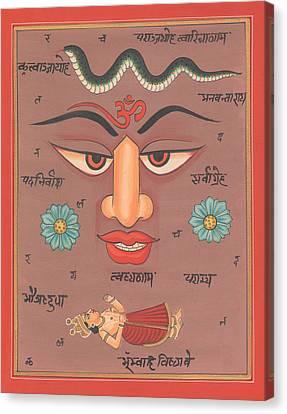 Aum Om Miniature Painting India Tantra Tantrik Artwork Yoga Artist Art Gallery India  Canvas Print by A K Mundhra