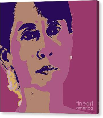 Arrest Canvas Print - Aung San Suu Kyi by Jean luc Comperat