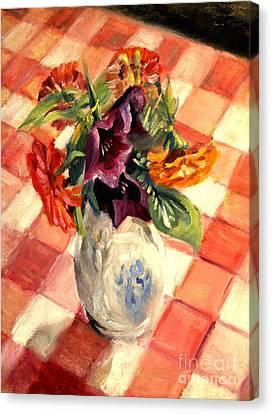 Aunt Alma's Flowers - 1944 Canvas Print