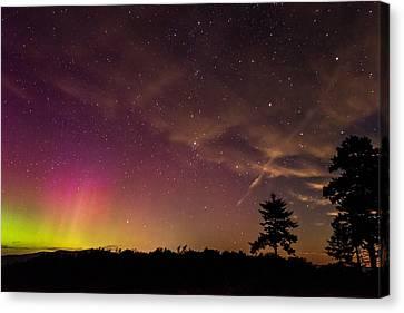 Aurora And Milky Way Over Camden Hills Canvas Print