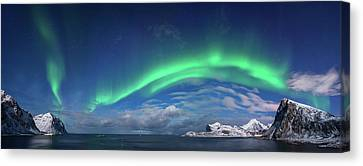 Aurora Borealis Above Flaget Bay Canvas Print by Panoramic Images