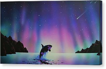 Aurora Borealis And Whale Canvas Print