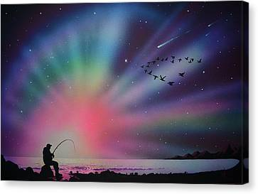 Aurora Borealis Gone Fishing Canvas Print