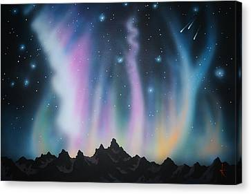 Aurora Borealis In The Rockies Canvas Print