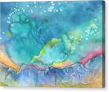 Canvas Print featuring the painting Aurora Borealis by Nancy Jolley