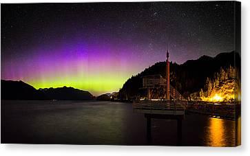 Aurora Borealis Near Vancouver Canvas Print by Alexis Birkill