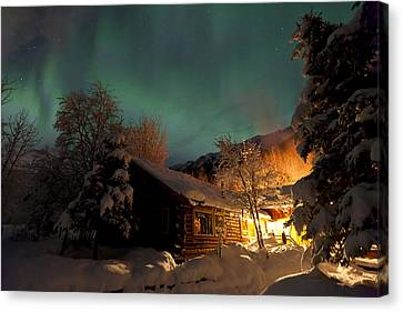 Aurora Borealis Northern Lights Over Canvas Print by Lucas Payne