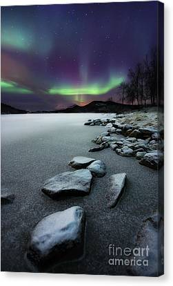 Snow Landscape Canvas Print - Aurora Borealis Over Sandvannet Lake by Arild Heitmann