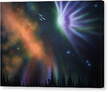 Aurora Borealis With 4 Shooting Stars Canvas Print