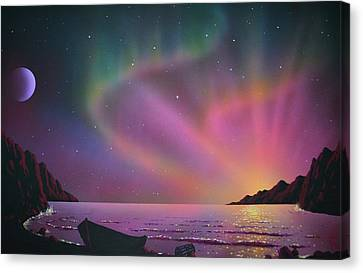 Aurora Borealis With Lobster Cage Canvas Print