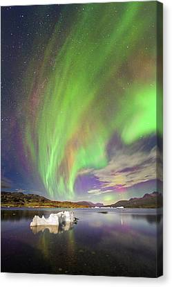 Aurora Over Iceberg Greenland Canvas Print