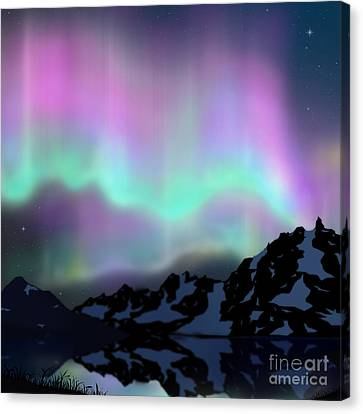 Aurora Over Lake Canvas Print by Atiketta Sangasaeng