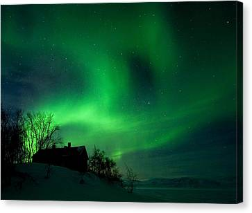 Aurora Over Lake Tornetrask Canvas Print by Max Waugh