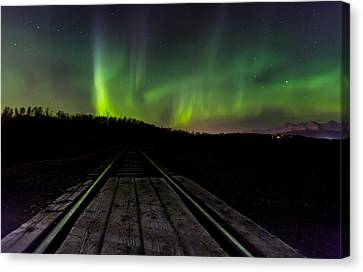 Aurora Railroad Tracks Canvas Print by Sam Amato