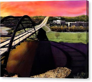 Austin 360 Bridge Canvas Print by Marilyn Hunt