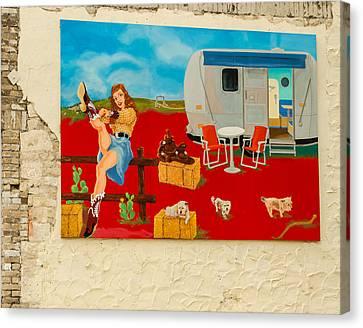 Austin - Camping Mural Canvas Print by Allen Sheffield