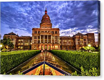 Canvas Print featuring the photograph Austin Capitol At Sunset by John Maffei