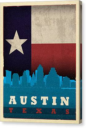 Austin City Skyline State Flag Of Texas Art Poster Series 010 Canvas Print