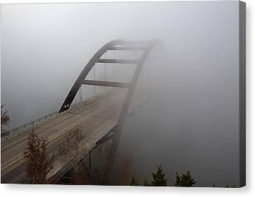 Austin Images - Pennybacker Bridge In Morning Fog 7 Canvas Print by Rob Greebon