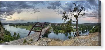 Austin Images - Pennybacker Bridge Panorama On A June Sunrise Canvas Print by Rob Greebon