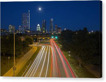 Frost Tower Canvas Print - Texas Images - The Austin Skyline And City Traffic by Rob Greebon