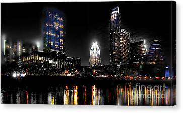 Austin Night Skyline Reflections  Canvas Print by Gary Gibich