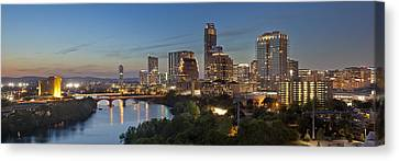 Frost Tower Canvas Print - An Evening Skyline Panorama From Austin Texas by Rob Greebon