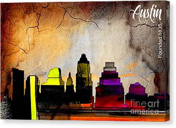 Austin Skyline Watercolor Canvas Print by Marvin Blaine