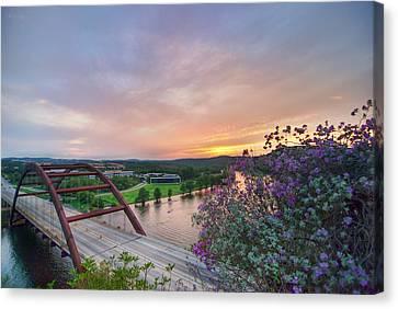 Pennybacker Bridge Canvas Print - Austin Sunset Over Pennybacker Bridge Hdr by Preston Broadfoot