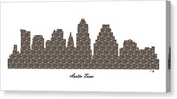Austin Texas 3d Stone Wall Skyline Canvas Print