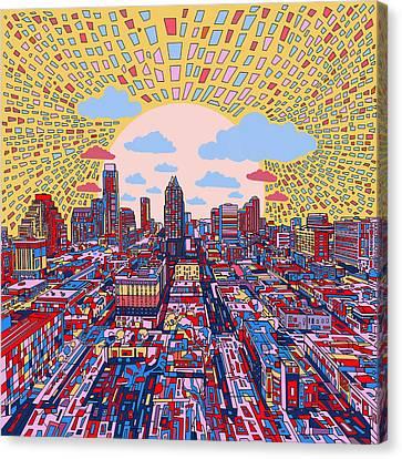Austin Skyline Canvas Print - Austin Texas Abstract Panorama 2 by Bekim Art