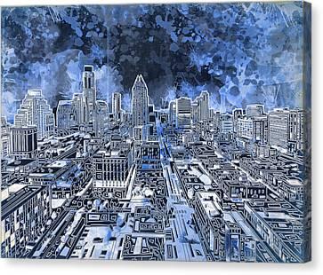 Austin Skyline Canvas Print - Austin Texas Abstract Panorama 5 by Bekim Art