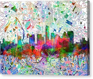 Austin Texas Abstract Panorama 7 Canvas Print