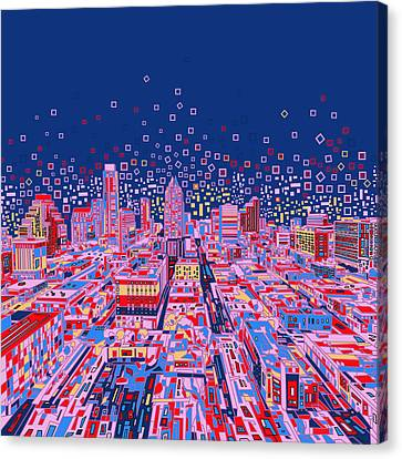 Austin Skyline Canvas Print - Austin Texas Abstract Panorama by Bekim Art