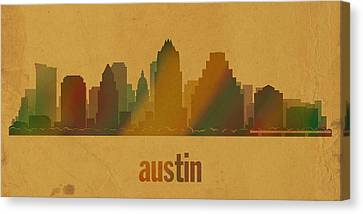 Austin Texas City Skyline Watercolor On Parchment Canvas Print