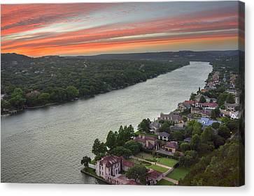 Austin Texas Images - Mount Bonnell Evening 1 Canvas Print by Rob Greebon