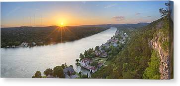 Austin Texas Images - Mount Bonnell Panorama - Late May Sunset Canvas Print by Rob Greebon