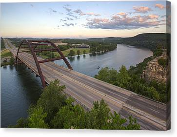 Pennybacker Bridge Canvas Print - Austin Texas Images - Pennybacer Bridge And The Texas Hill Count by Rob Greebon