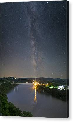 The 360 Bridge And Austin Skyline Under The Milky Way Canvas Print by Rob Greebon