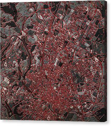 Abstract Digital Canvas Print - Austin Texas Map 3 by Bekim Art